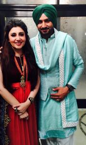 Ddesigner Archana Kochhar with Harbhajan Singh at the sangeet ceremony