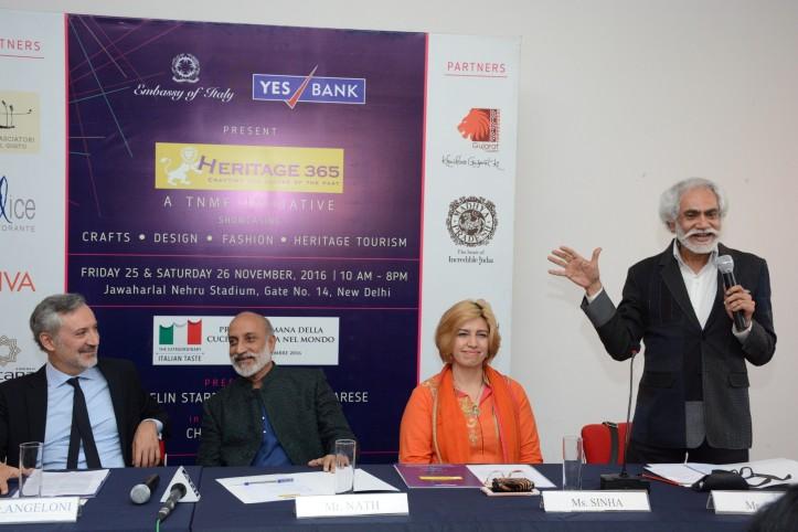 L-R, H.E Lorenzo Angeloni, Ambassador of Italy to India, Mr. Aman Nath, Chairman Neemrana Group of Hotels, Ms Preeti Sinha Vice President, Yes Culture and -Mr Sunil Sethi, President, FDCI