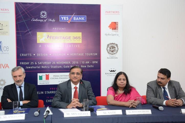 L-R, H.E Lorenzo Angeloni, Ambassador of Italy to India, Mr N Srivastava,Commissioner, Gujrat -T-ourism, Ms Dipika RoyChoudhury, MP Tourism and Mr Sanjay Pande, ED Rajasthan Tourism (Custom)