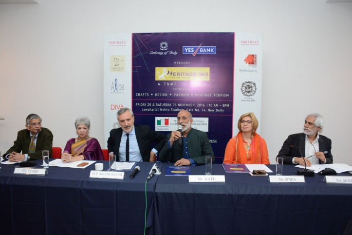 L-R, Mr Sunil Sethi, Ms Laila Tyabji, H.E Lorenzo Angeloni, Ambassador of Italy to India, Mr Aman Nath, Ms Preeti Sinha and Mr Sunil Sethi (Custom)