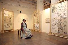 Lavina Baldota against Jean-Francois Lesage installation